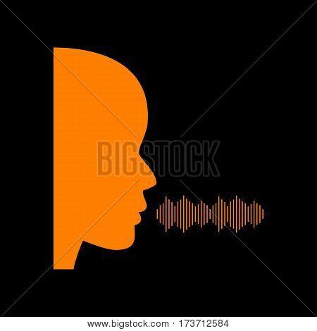 People speaking or singing sign. Orange icon on black background. Old phosphor monitor. CRT.