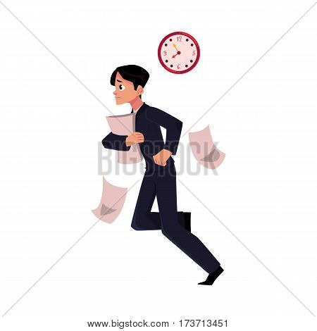 Young businessman hurrying to work holding papers, losing documents, being late, cartoon vector illustration isolated on white background. Businessman, worker, employee harrying to work