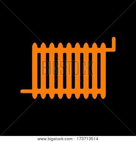 Radiator sign. Orange icon on black background. Old phosphor monitor. CRT.