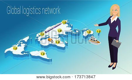 Map world isometric concept. 3d flat illustration of Map world. Vector world map connection Political World Map isometric