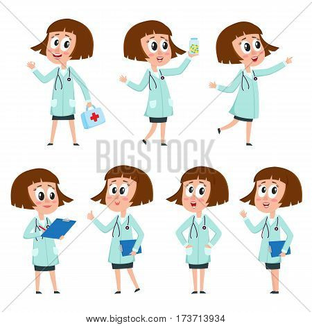 Young comic style female, woman doctor character in various positions wearing white medical coat, cartoon vector illustration isolated on white background. Full length portrait of funny woman doctor