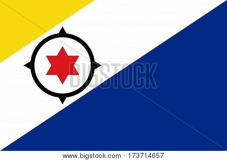 Flag of Bonaire is an island in the Leeward Antilles in the Caribbean Sea. Special municipality of the Netherlands. Vector illustration