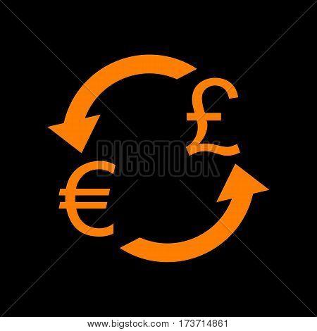 Currency exchange sign. Euro and UK Pound. Orange icon on black background. Old phosphor monitor. CRT.