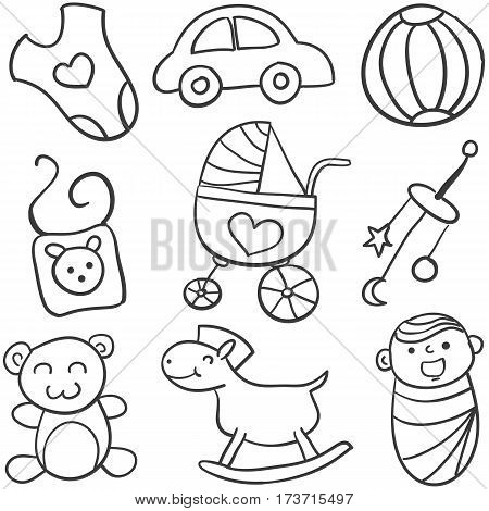 Doodle of baby set vector illustration collection stock