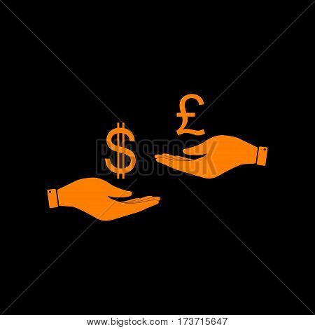 Currency exchange from hand to hand. Dollar and Pound. Orange icon on black background. Old phosphor monitor. CRT.