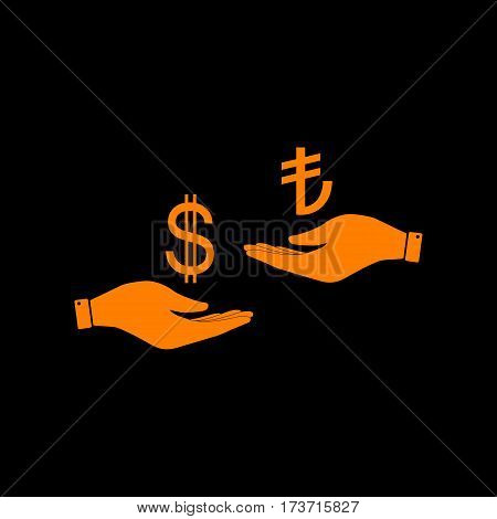 Currency exchange from hand to hand. Dollar and Turkey Lira. Orange icon on black background. Old phosphor monitor. CRT.