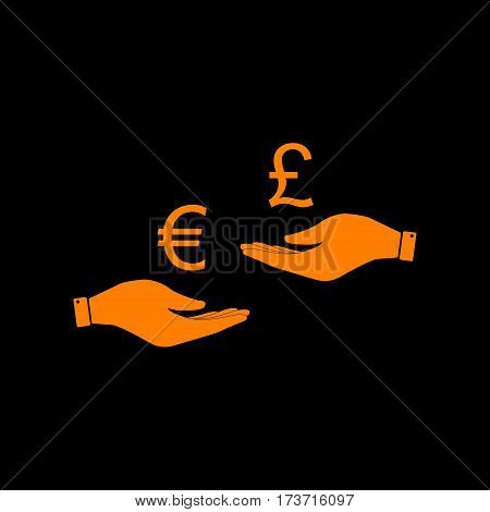 Currency exchange from hand to hand. Euro and Puond. Orange icon on black background. Old phosphor monitor. CRT.