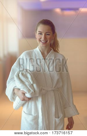 Pretty Young Woman Ready To Take A Bath Or Shower