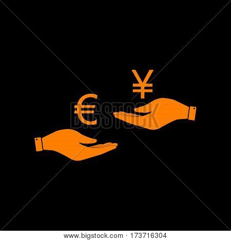 Currency exchange from hand to hand. Euro and Yen. Orange icon on black background. Old phosphor monitor. CRT.