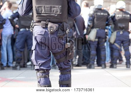 Law enforcement. Police officer on duty. Counter-terrorism.