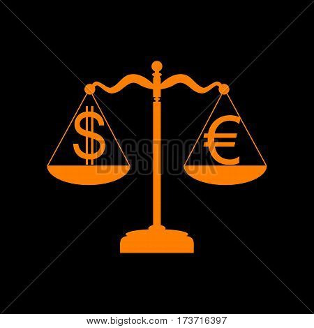 Justice scales with currency exchange sign. Orange icon on black background. Old phosphor monitor. CRT.
