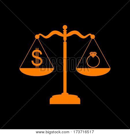 Ring jewelery and dollar symbol on scales. Orange icon on black background. Old phosphor monitor. CRT.
