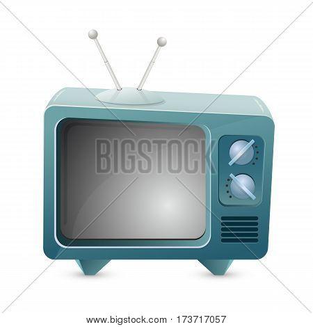 Retro TV icon isolated on white background, illustration.