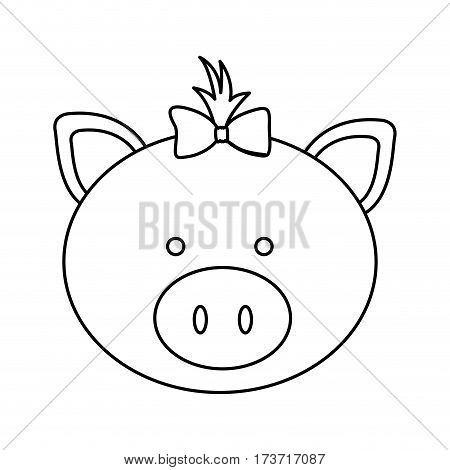 figure face pig ribbon bow head icon, vector illustration design