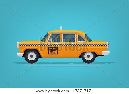 Retro yellow taxi cab. Classic taxicab icon. Vector flat style illustration