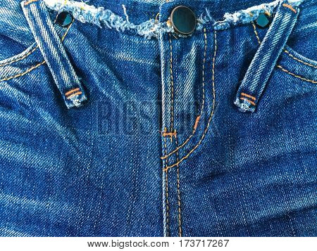 Close up fasion jean denim zipper for background .