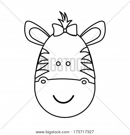 figure face zebra ribbon bow head, vector illustration design image