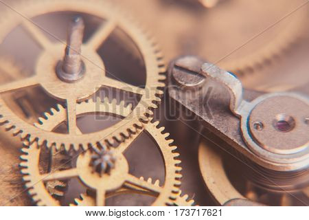Mechanical watches mechanism very close up, blurred background for design