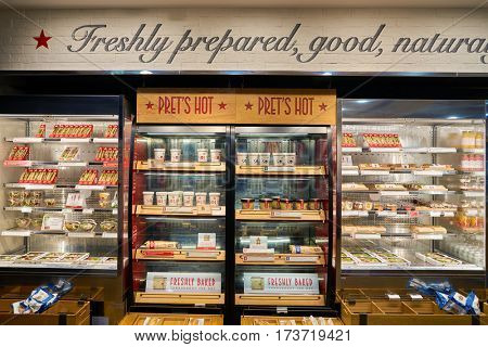 HONG KONG - CIRCA NOVEMBER, 2016: Pret a Manger in Hong Kong. Pret a Manger is a sandwich shop chain based in the United Kingdom.
