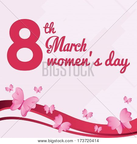 8 march womens day card with butterfly flying vector illustration eps 10