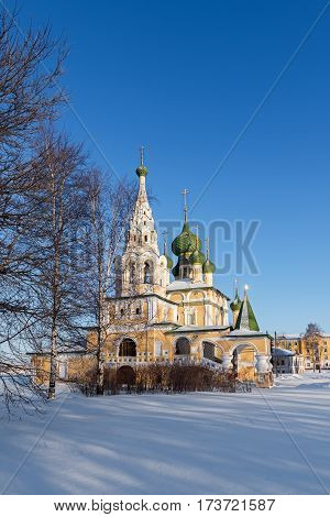 Church of St John the Baptist in Uglich in a sunny winter day, Russia