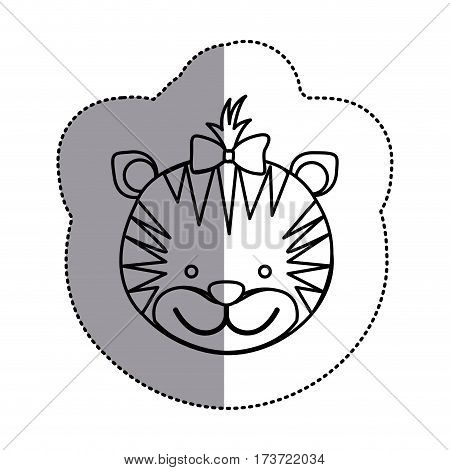 contour face tiger ribbon bow head icon, vector illustration design image