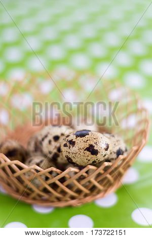 Selective Focus On Quail Egg In The Basket