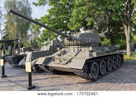 Kiev Ukraine - August 18 2015: Soviet tank T-34 an exhibit of the museum of military