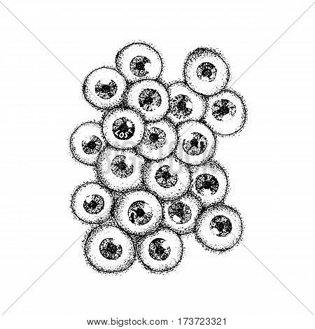 Dotwork Human Eyeballs. Vector Illustration of Scary Eyes Concept. Tattoo Hand Drawn Sketch.