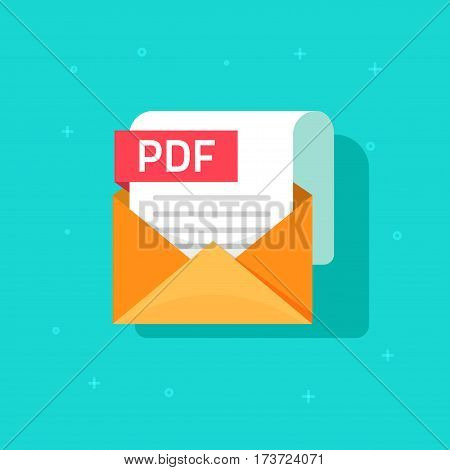 PDF file vector icon isolated on color background, flat style envelope with paper pdf document attached for downloading, email file format icon