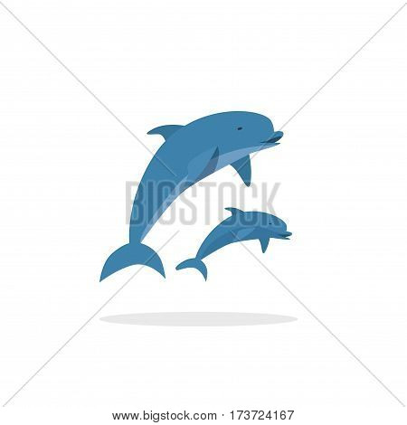 Dolphin vector illustration, flat style two jumping happy dolphins isolated on white background