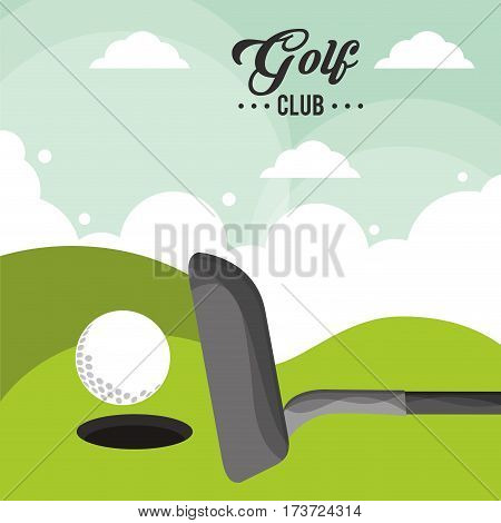 golf club ball field hole one poster vector illustration eps 10