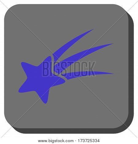 Falling Star interface toolbar icon. Vector pictograph style is a flat symbol on a rounded square button, violet and gray colors.