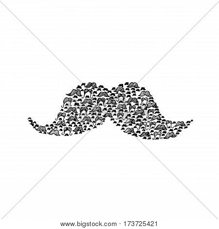 Mustache Doodle. Vector Illustration of Hipster Style Design. Hand Drawn Sketch. Black and White.