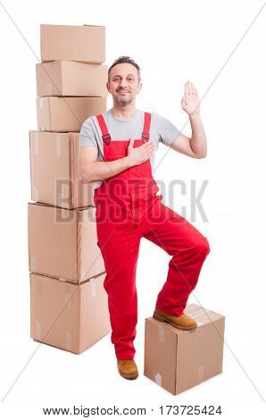 Full Body Of Mover Man In Overall Making Swear Gesture