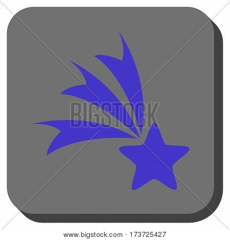 Falling Star rounded icon. Vector pictograph style is a flat symbol in a rounded square button, violet and gray colors.
