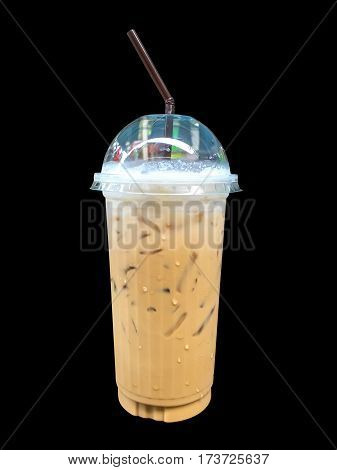 Ice coffee with whipped cream in take a way cup isolated on black background