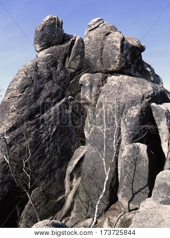 Interesting rock formation - Rock tower in the Crows Rocks in Lusatian mountains Bohemia