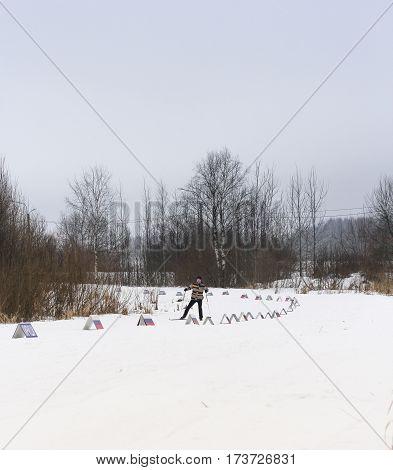Kirishi, Russia - 11 February, Man on the ski run, 11 February, 2017. Mass ski race Russian Ski Track.