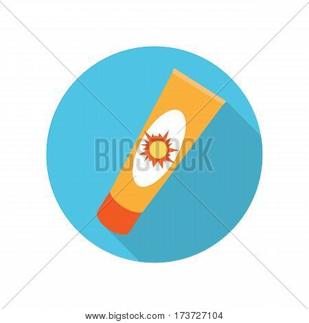 Sun cream tube in flat. Solar defence. Sun cosmetic. Orange plastic tube for sun block. Sunscreen cream bottle. Product for body and skin care, beauty, health, freshness, youth, hygiene.