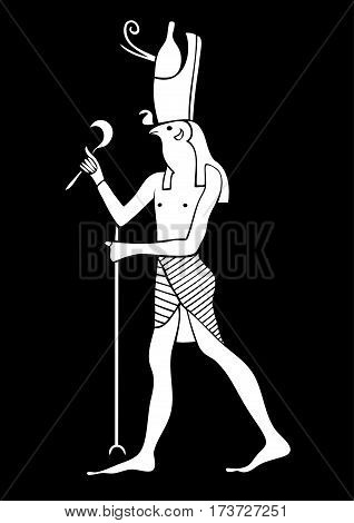 Illustration of the Horus - God of Ancient Egypt. God of the sky and kingship