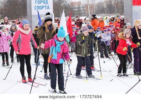 Kirishi, Russia - 11 February, The mass sprint teenagers, 11 February, 2017. Mass ski race Russian Ski Track.