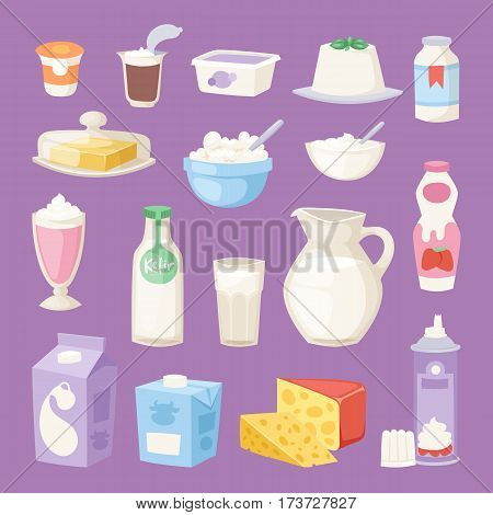 Collection dairy milk products on white background. Organic drink bottle healthy cream milk products vector set. Fresh cheese glass product nutrition farm calcium breakfast.