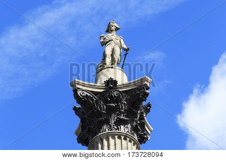 LONDON, GREAT BRITAIN - MAY 12 2014: It is a figure of the famous Admiral Nelson the crowning of the same name Column in the center of Trafalgar Square.