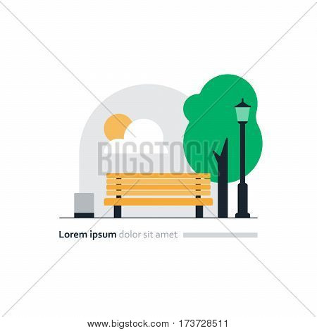 City park vector illustration, yellow bench in square, lamp and green tree, summer recreation, beautiful park scene