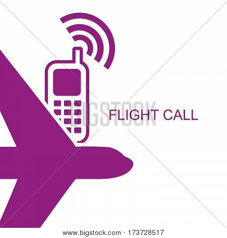Flight time call simple flat style vector.