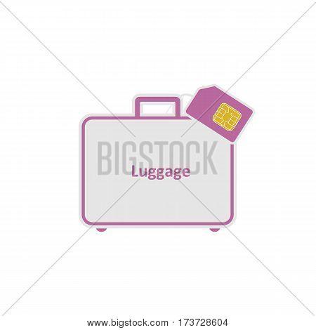 Roaming. Luggage. SIM flat style icon.