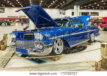 DETROIT MI/USA - February 25 2017: A 1958 Chevrolet Impala car interpretation on display at the Detroit Autorama, a showcase of custom and restored cars.