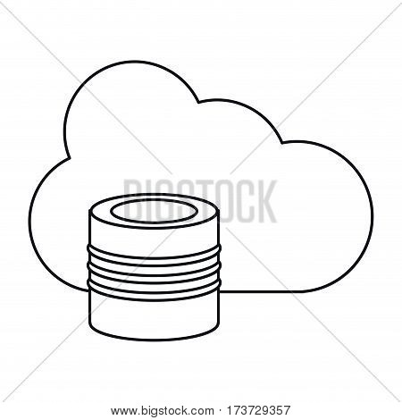 cloud data base technology thin line vector illustration eps 10