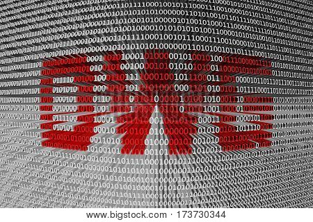 dwg is presented in the form of binary code 3d illustration